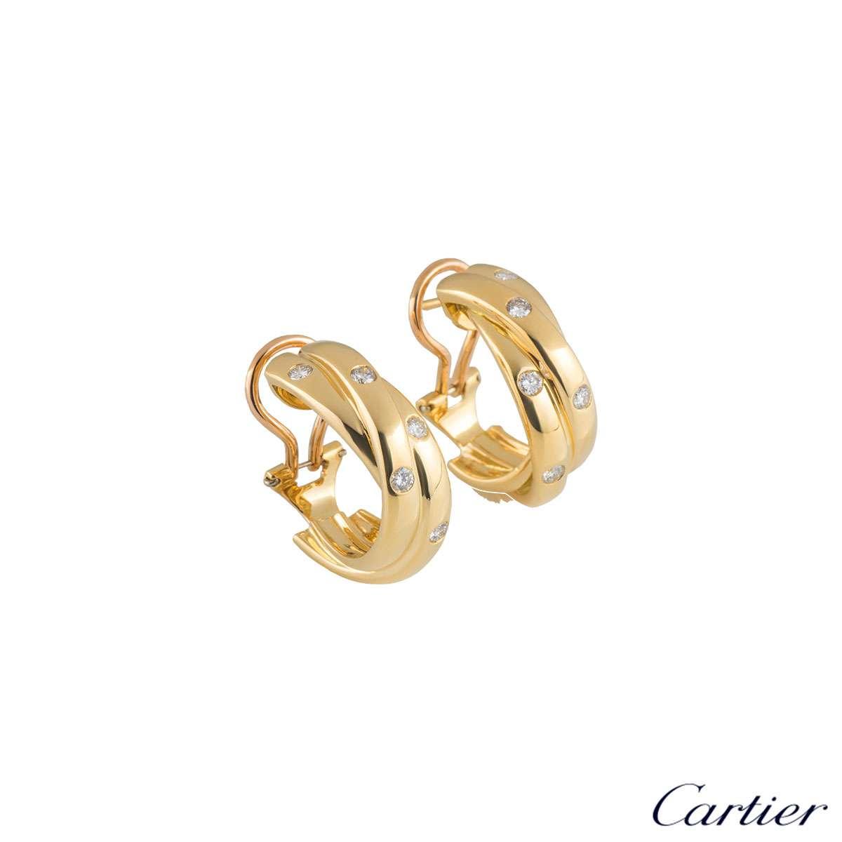 Cartier Yellow Gold Diamond Trinity de Cartier Hoop Earrings